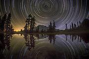 Star Trails Mt Rainier Reflection