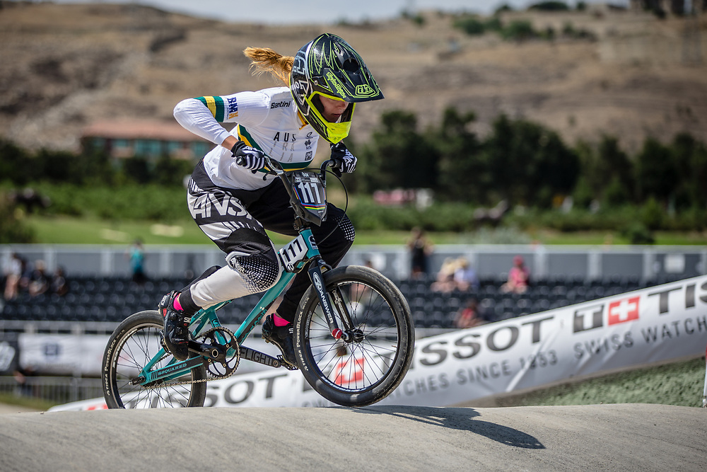 Women Junior #117 (WHITLOCK Edan) AUS at the 2018 UCI BMX World Championships in Baku, Azerbaijan.