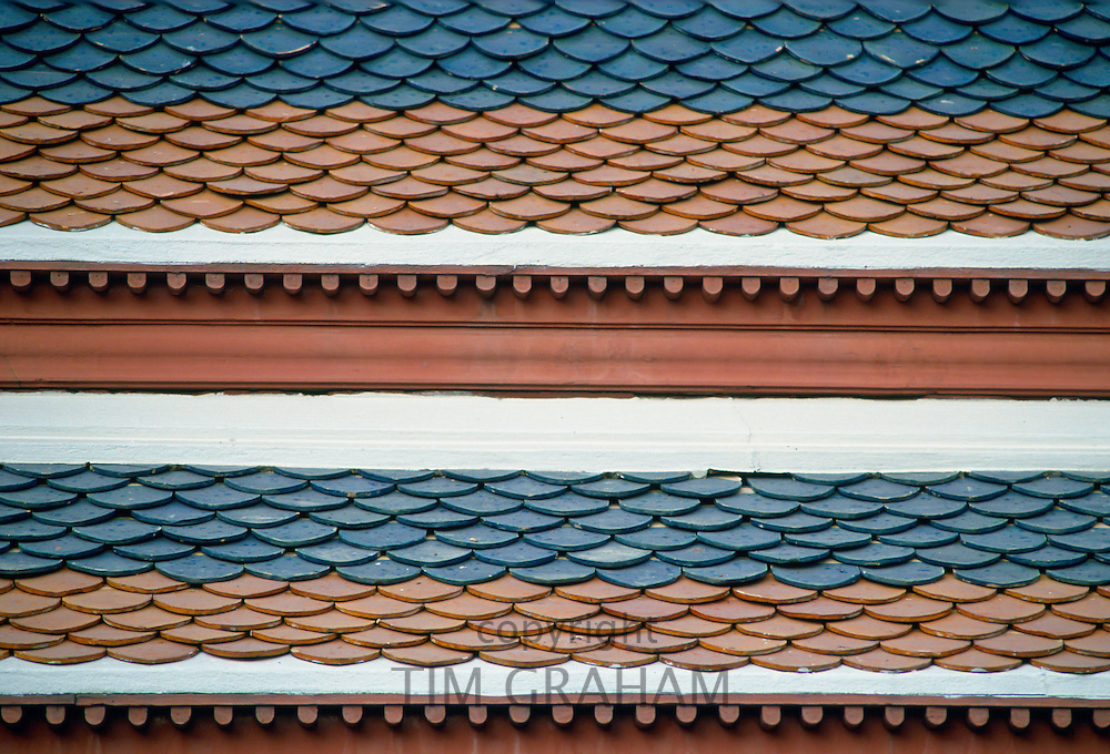 Roof tiles on the Grand Palace, Bangkok, Thailand