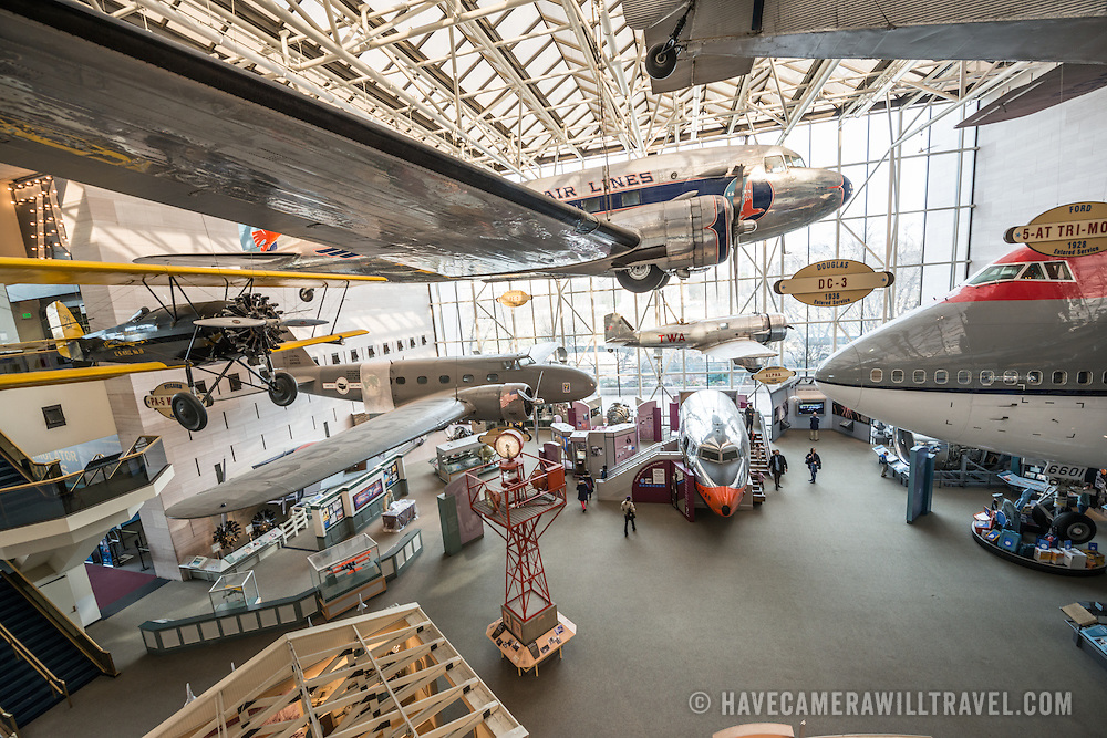 The commercial aviation exhibit at the Smithsonian Institution's National Air and Space Museum on the National Mall in Washington DC. The Air and Space Museum, which focuses on the hsitory of aviation and space exploration, is one of the most visited museums in the world.