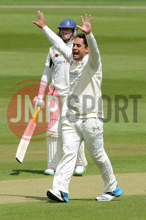 Kieran Noema-Barnett of Gloucestershire appeals for an LBW against Fabian Cowdrey of Kent   - Photo mandatory by-line: Dougie Allward/JMP - Mobile: 07966 386802 - 19/05/2015 - SPORT - Cricket - Bristol - County Ground - Gloucestershire v Kent - LV=County Cricket Division 2