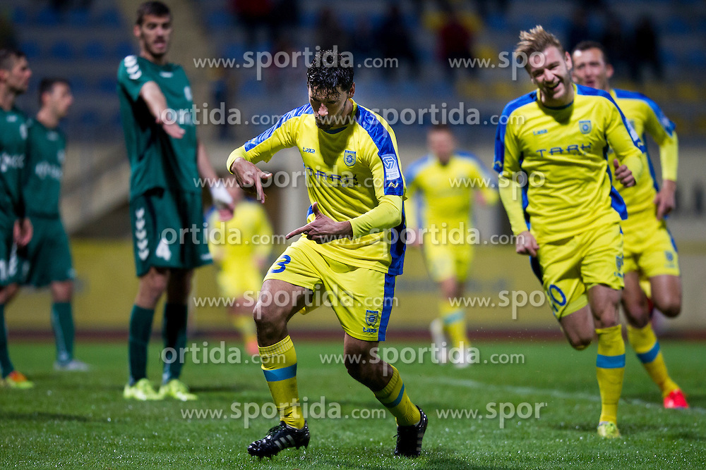 Lucas Mario Horvat of NK Domzale celebrates goal during football match between NK Domzale and NK Krka in 14th Round of Prva liga Telekom Slovenije 2015/16, on October 17, 2015 in Sports park Domzale, Slovenia. Photo by Urban Urbanc / Sportida
