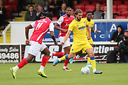 AFC Wimbledon defender George Francomb (7) passing the ball during the Pre-Season Friendly match between Ebbsfleet and AFC Wimbledon at Stonebridge Road, Ebsfleet, United Kingdom on 29 July 2017. Photo by Matthew Redman.