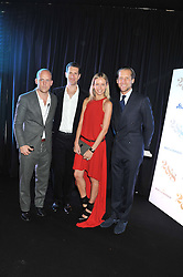 Left to right, CARLO CARELLO, MARLON & NADYA ABELA and JAKE PARKINSON-SMITH at a party to celebrate the launch of the new 2&8 club at Morton's Berkeley Square, London on 27th September 2012.