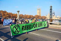 © Licensed to London News Pictures. 17/11/2018. LONDON, UK.  Protesters from Extinction Rebellion block Lambeth Bridge calling for increased Government action on climate change. The group hopes to block five central London bridges today (Sat)  after engaging in a series of civil disobedience during the last week.  Photo credit: Cliff Hide/LNP