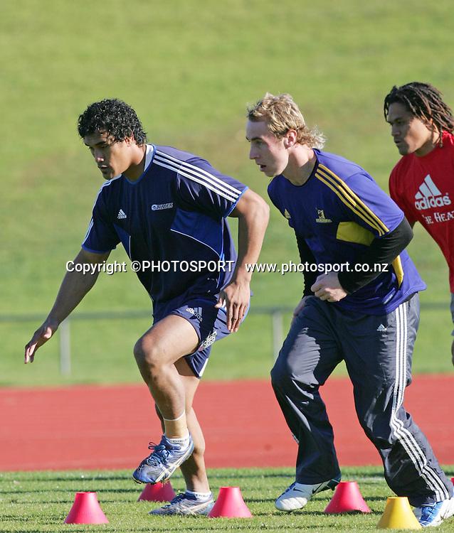 Jerome Kaino, and Jimmy Cowan.<br />All Blacks Wider Training Session, Trusts Stadium, Waitakere, Auckland, Wednesday 28 May 2008. Photo: Renee McKay/PHOTOSPORT