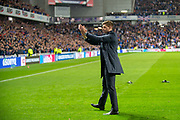 Steven Gerrard, manager of Rangers FC applauds the Rangers fans at the final whistle of the Europa League Play Off leg 2 of 2 match between Rangers FC and Legia Warsaw at Ibrox Stadium, Glasgow, Scotland on 29 August 2019.
