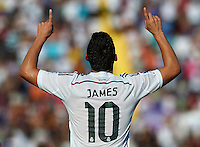 VALENCIA, SPAIN - OCTOBER 18: James Rodriguez of Real Madrid celebrates after scoring during the La Liga match between Levante UD and Real Madrid at Ciutat de Valencia on October 18, 2014 in Valencia, Spain.  (Photo by Manuel Queimadelos Alonso/Getty Images)