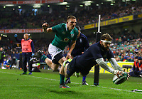Rugby Union - 2017 Guinness Series (Autumn Internationals) - Ireland vs. Argentina<br /> <br /> Argentina's Ramiro Moyano goes over for his sides last try, at the Aviva Stadium.<br /> <br /> COLORSPORT/KEN SUTTON