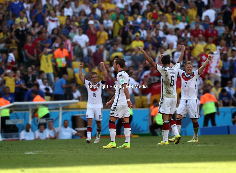 Fifa Soccer World Cup - Brazil 2014 - <br /> FRANCE (FRA) Vs. GERMANY (GER) - Quarter-finals - Estadio do MaracanaRio De Janeiro -- Brazil (BRA) - 04 July 2014 <br /> Here German players celebrating after finish the match<br /> From L to R = Philipp LAHM  - Mario GOETZE   - Sami KHEDIRA   - Bastian SCHWEINSTEIGER  <br /> &copy; PikoPress