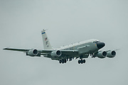 A US Air Force RC-135 on it's final approach in to RAF Mildenhall on 10 June 2020.