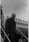 Australian Prime Minister Visits Ireland.   (H79)..1974..23.12.1974..12.23.1974..23rd December 1974..As part of his tour of E.E.C. Capital Cities,Mr Gough Whitlam, the Australian Prime Minister visited Dublin today. In Dublin he will have talks with An Taoiseach, Mr Liam Cosgrave...Picture of The Australian Prime Minister, Mr Gough Whitlam,disembarking from the Quantas aircraft.
