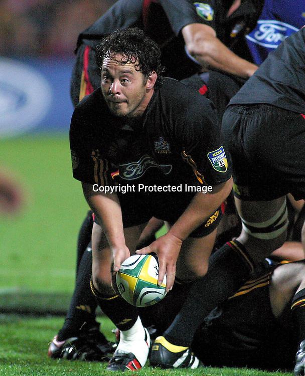 21st February, 2003. Waikato Stadium. Hamilton, New Zealand. Super 12 Rugby Union. Round One.<br />Chiefs v Highlanders.<br />Greg Smith.<br />Pic: Chris Skelton/Photosport
