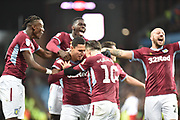 Aston Villa striker (on loan from Lille) Anwar El Ghazi (22) scores a goal and celebrates  5-4 with The Aston Villa players during the EFL Sky Bet Championship match between Aston Villa and Nottingham Forest at Villa Park, Birmingham, England on 28 November 2018.