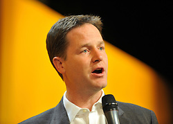 © Licensed to London News Pictures. 17/09/2011. BIRMINGHAM, UK.Deputy Prime Minister Nick Clegg takes part in a question and answer session at the Liberal Democrat Conference at the Birmingham ICC today (19 Sept 2011): Stephen Simpson/LNP . Photo credit : Stephen Simpson/LNP