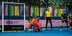Germany's Nicolas Jacobi saves an England pematly corner. England v Germany - Semi-Final Unibet EuroHockey Championships, Lee Valley Hockey & Tennis Centre, London, UK on 27 August 2015. Photo: Simon Parker