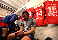 Siale Piutau of Bristol Rugby sits in the dressing room at Nottingham Rugby - Mandatory by-line: Robbie Stephenson/JMP - 06/04/2018 - RUGBY - The Bay - Nottingham, England - Nottingham Rugby v Bristol Rugby - Greene King IPA Championship