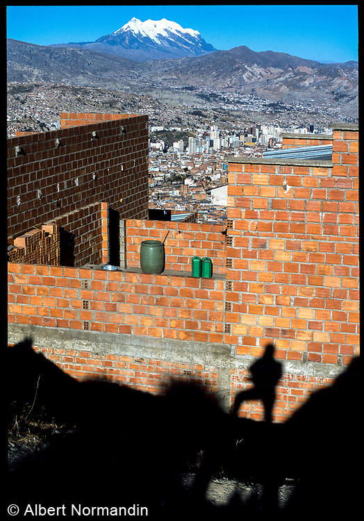 Illimani Mountain and my shadow, La Paz, Bolivia, 2003