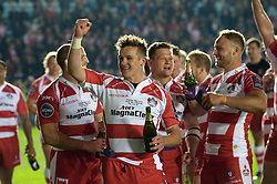 Billy Burns of Gloucester Rugby celebrates after the match - Photo mandatory by-line: Patrick Khachfe/JMP - Mobile: 07966 386802 01/05/2015 - SPORT - RUGBY UNION - London - The Twickenham Stoop - Edinburgh Rugby v Gloucester Rugby - European Rugby Challenge Cup Final