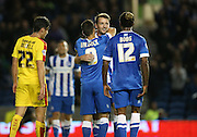 Brighton central midfielder, Dale Stephens scores to make it 2-0 during the Sky Bet Championship match between Brighton and Hove Albion and Rotherham United at the American Express Community Stadium, Brighton and Hove, England on 15 September 2015.