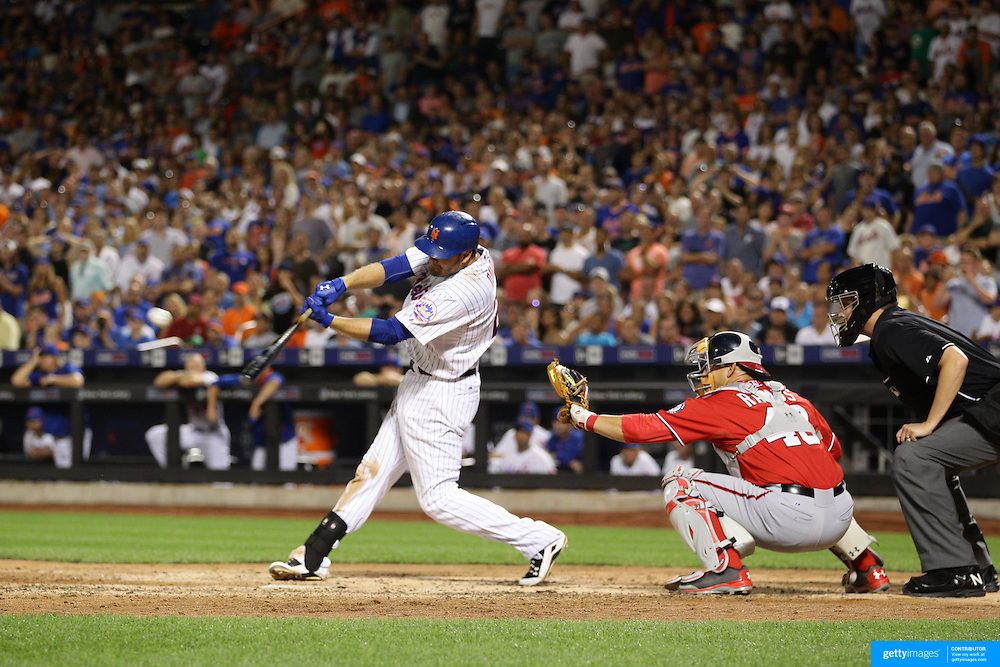 Lucas Duda, New York Mets, hits a double in the eigth inning to score Curtis Granderson during the New York Mets Vs Washington Nationals. MLB regular season baseball game at Citi Field, Queens, New York. USA. 1st August 2015. (Tim Clayton for New York Daily News)