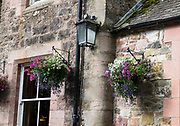 Hanging flower pots at Comlongon's 1902 Edwardian hotel. Comlongon Castle is a restored Medieval Scottish tower house dating from the late 1400s. Guests can stay in the attached Edwardian hotel, a baronial style mansion built 1900-02, set in 120 acres of manicured gardens, sweeping lawns, carp pond, lakes and woodlands, near Clarencefield and Dumfries, in southwest Scotland, United Kingdom, Europe. Originally built by the Murrays of Cockpool, Comlongon Castle remained in the Murray family until 1984. The castle is 50 feet square and stands 70 feet high, with walls over 4 meters thick, with impressive displays of weapons, armor and banners.