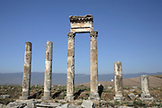 Apamea (Afamia), erected by Trajan (AD 52 ? 117) who ordered its complete reconstruction after the earthquake of AD 115 : View of ruined columns and rubbles. Apamea. Syria Picture by Manuel Cohen