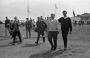 Irish Dunlop Golf Tournament at Tramore, Co. Waterford. Hugh Boyle, who came in from his first round with a 66, sets out on the 2nd round with his partner J. Craddock..19.08.1967