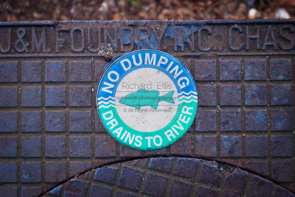 No dumping sign on a drain in Charleston, SC.