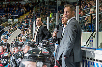 KELOWNA, CANADA - OCTOBER 26: Kelowna Rockets' coaches Kris Mallette and Jason Smart stand on the bench against the Victoria Royals on October 26, 2016 at Prospera Place in Kelowna, British Columbia, Canada.  (Photo by Marissa Baecker/Shoot the Breeze)  *** Local Caption ***