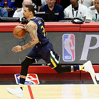 15 April 2017: Utah Jazz guard George Hill (3) brings the ball up court during the Utah Jazz 97-95 victory over the Los Angeles Clippers, during game 1 of the first round of the Western Conference playoffs, at the Staples Center, Los Angeles, California, USA.