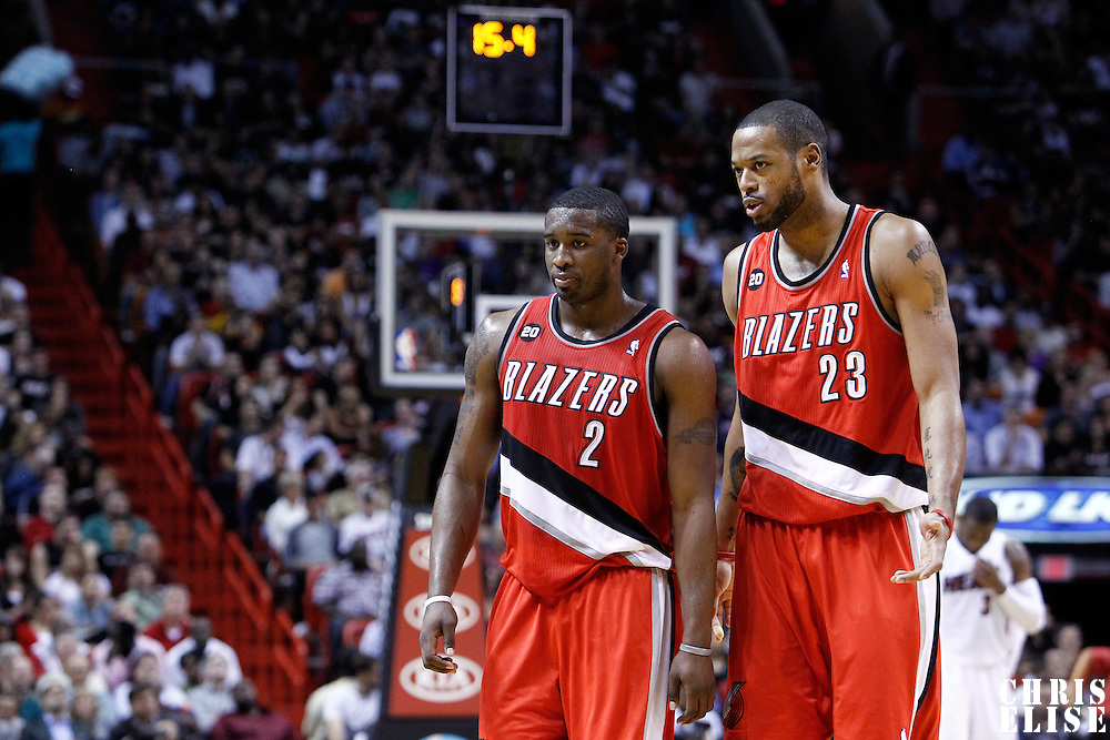 08 March 2011: Portland Trail Blazers guard Wesley Matthews (2) and Portland Trail Blazers power forward Marcus Camby (23) are seen during the Portland Trail Blazers 105-96 victory over the Miami Heat at the AmericanAirlines Arena, Miami, Florida, USA.