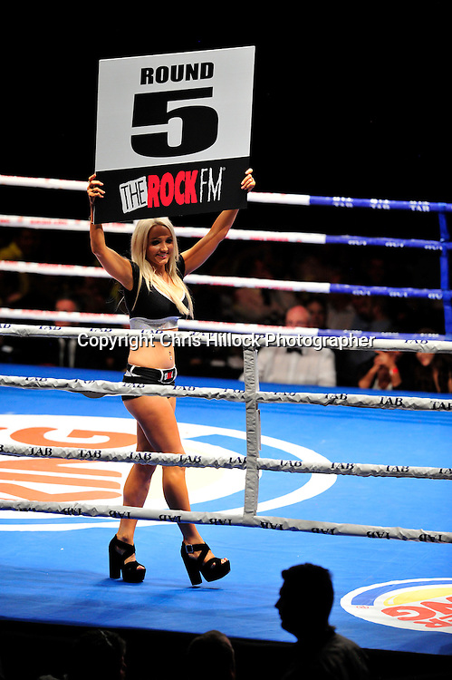 The Rock Ring Card Girls.  Boxing - Burger King Road to the Title - Parker v Pettaway, Vodafone Events Centre, 5 March 2015 copyright photo Chris Hillock/www.photosport.co.nz