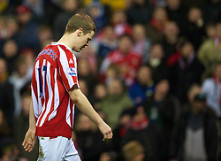 STOKE-ON-TRENT, ENGLAND - Saturday, February 27, 2010:  Stoke City's Ryan Shawcross walks off after being sent off agasinst Arsenal during the FA Premier League match at the Britannia Stadium. (Photo by David Rawcliffe/Propaganda)