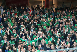 Northern Ireland fans in the stands during the FIFA World Cup Qualifying second leg match at St Jakob Park, Basel.