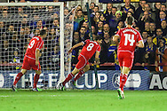 Steven Gerrard of Liverpool (centre) celebrates scoring the opening goal against AFC Wimbledon during the FA Cup match at the Cherry Red Records Stadium, Kingston<br /> Picture by David Horn/Focus Images Ltd +44 7545 970036<br /> 05/01/2015