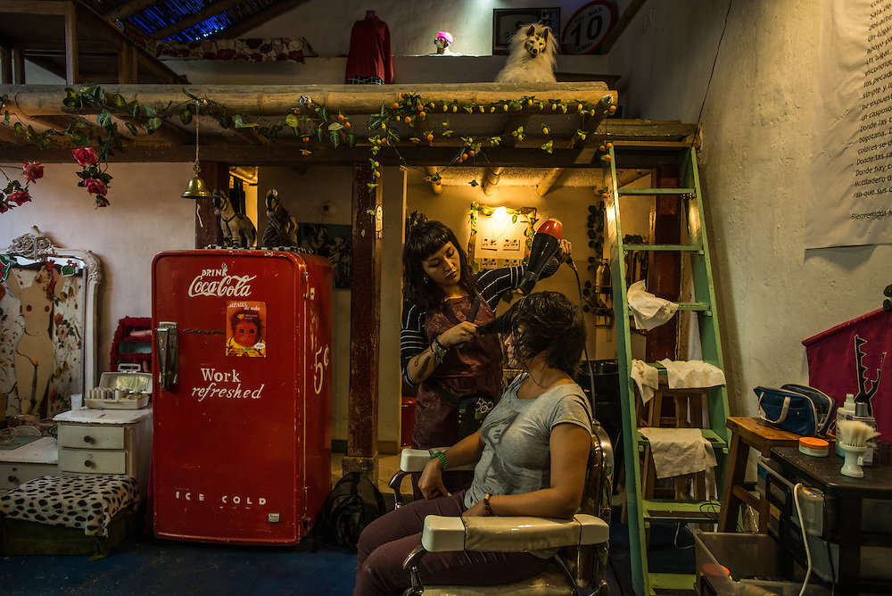 BOGOTA, COLOMBIA - OCTOBER 24, 2015:  La Peluqueria (Carrera 3, #12d - 83) Stop for a coffee (espresso COP3,000) at La Peluqueria, in La Candelaria - a colorful café/hair salon/vintage clothing store where the city's hipsters gather and the beans come from Azahar, one of Bogotá's new crop of high-end local coffee companies. (lapeluqueriabogota.com) PHOTO: Meridith Kohut for The New York Times