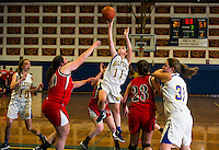 Cassidy Bartlett goes up for the basket during first round action with Moultonboro at the 42nd annual Holiday Basketball Tournament at Gilford High School.  (Karen Bobotas/for the Laconia Daily Sun)