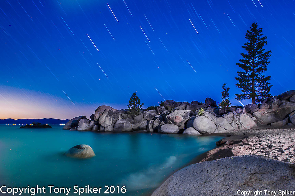 """Stars Over Chimney Beach 1"" - A night photograph of Chimney Beach, Lake Tahoe"