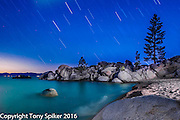 """Stars Over Chimney Beach 1"" - A night photograph of Chimney Beach, Lake Tahoe"