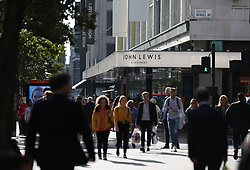 """A general view of the John Lewis and Partners store in Oxford street, London. The Partnership has revealed half-year profits crashed 98.8\\% as it battled against """"challenging times"""". Picture dated: Thursday September 13, 2018. Photo credit should read: Isabel Infantes / EMPICS Entertainment."""