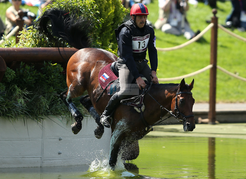 Andrei Korshunov of Russia jumps during the team eventing equestrian event during day 3 of the London Olympic Games London, 30 Jul 2012..(Jed Jacobsohn/for The New York Times)....