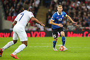 Estonia captain Ragnar Klavan on the ball during the UEFA European 2016 Qualifier match between England and Estonia at Wembley Stadium, London, England on 9 October 2015. Photo by Shane Healey.