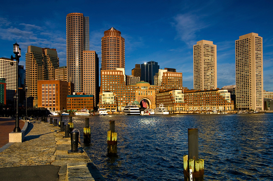 Skyline and inner harbor including Rowes Wharf in Boston, MA
