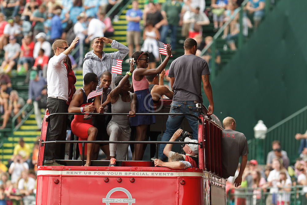 Olympic Trials Eugene 2012, Olympians ride double-decker bus around track, Eaton, Montano, Bailey, Symmonds, Young,