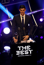 Thibaut Courtois on stage after winning The Best FIFA Goalkeeper Award during the Best FIFA Football Awards 2018 at the Royal Festival Hall, London.