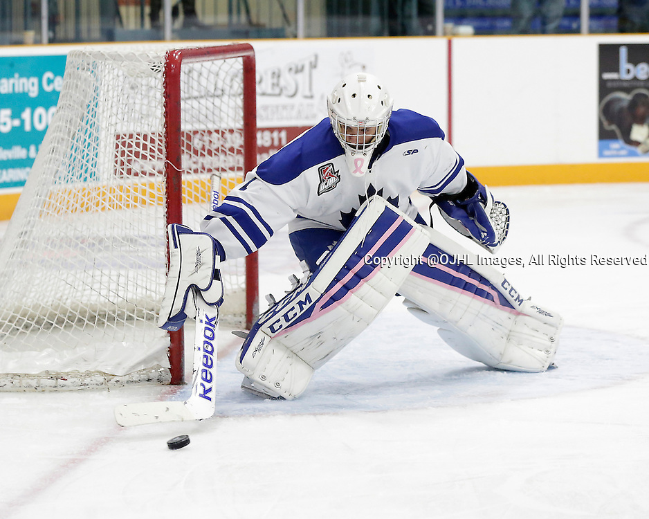 TRENTON, ON - Oct 16, 2015 : Ontario Junior Hockey League game action between Markham and Trenton, Nathan Colitto #1 of the Markham Royals makes the save during the third period<br /> (Photo by Amy Deroche / OJHL Images)