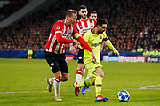 PSV player Luuk de Jong (l) and Barcelona player Lionel Messi (r) during the UEFA Champions League, Group B football match between PSV Eindhoven and FC Barcelona on November 28, 2018 at Philips Stadium in Eindhoven, Netherlands - Photo Thomas Bakker / Pro Shots / ProSportsImages / DPPI