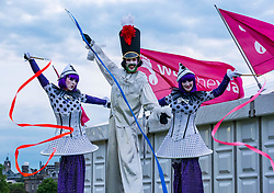 Edinburgh, Scotland, United Kingdom, 8 June 2019. Moonwalk Scotland: The 14th Moonwalk Scotland 'Walk the Walk' night-time event with several thousand participants wearing specially decorated bras choose between New Moon (6.55 Miles), Half Moon Marathon (13.1 Miles), Full Moon Marathon (26.2 miles) and Over The Moon (52.4 Miles) to raise money  and awareness for breast cancer causes. Credit: Sally Anderson/Alamy Live News