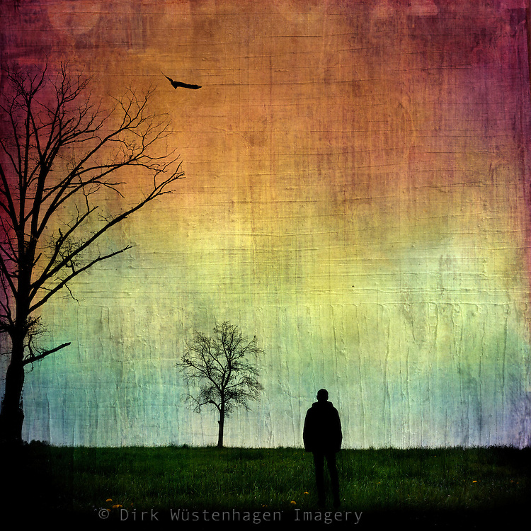 Photomanipulation - silhouettes against a colorful background.